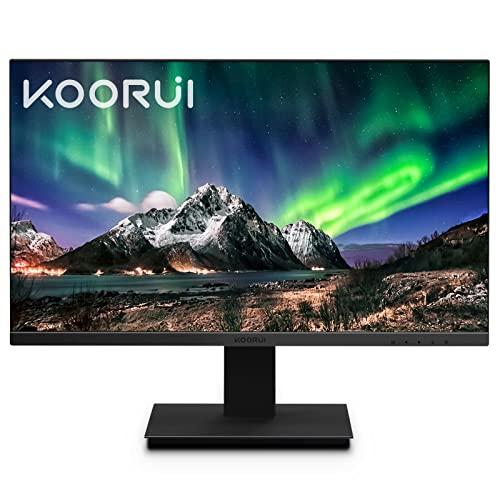 KOORUI 24 Pollici Monitor Full HD IPS Panel, Schermo 75Hz 5ms (Estremo) Monitor PC FHD 1920x1080 (HDMI+VGA) Comfort Visivo VESA Montabile Ultra Sottile Monitor Computer Desktop, Nero
