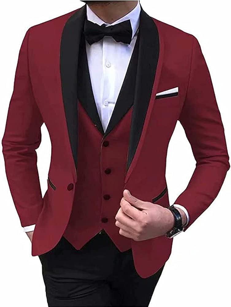 Men's 3 Pieces Suit One Button Single Breasted Party Blazer Vest Pants Set Wedding Suits Groom Tuxedos
