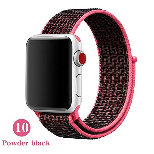 HUAKLIN per Apple Watch Bracelet 38mm 40mm 42mm 44mm,Tessuto Nylon Sport Strap Orologio Strap Sostituzione Bracciale Strap per Iwatch Apple Watch Series 4 3 2 1 42mm or 44mm Rosa Scuro e Nero