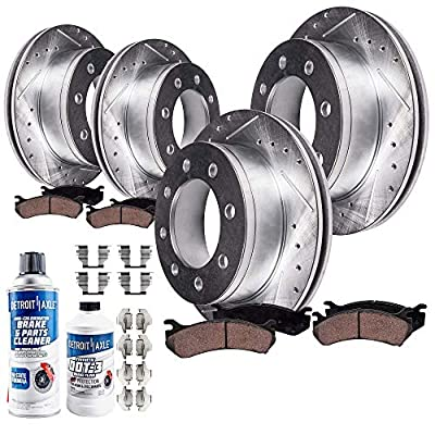 Detroit Axle - 8-LUG FRONT & REAR Drilled Slotted Brake Rotors Ceramic Pads w/Hardware, Fluid & Cleaner for 2001-2010 Silverado/Sierra 2500HD - [2007-2010 Silverado/Sierra 3500HD Single Rear Wheel]