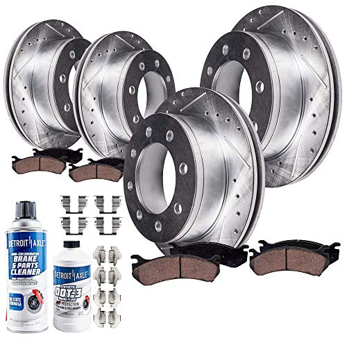 Detroit Axle - SRW All (4) Front and Rear Drilled and Slotted Disc Brake Kit Rotors w/Ceramic Pads w/Hardware for 2005-2007 Ford F-250 Super Duty 4WD SRW - [2005-2008 F-350 Super Duty 4WD SRW]