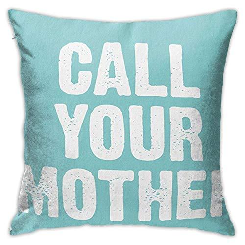 QUEMIN Rufen Sie Ihre Mutter Teal Soft Decorative Square Throw Kissenbezüge Set Kissenbezug für Sofa Schlafzimmer Auto 18 x 18 Zoll 45 x 45 cm