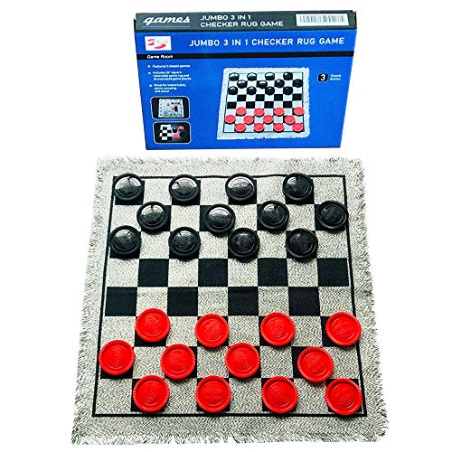 Yuanhe 3 in 1 Gaint Checker Set Including Tic Tac Toe Game with Reversible Rug, Calssic Indoor Outdoor Yard Games for Family