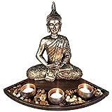 Gelory Zen Garden Candle Holder Ornamento para piedra natural de ratán incienso Set de regalo, regalo espiritual Meditación Relajarse, decoración del hogar (1)