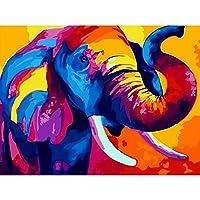 diyオイルカラフルな動物象の絵を数字で大人用アクリル絵の具キット写真を数字で寝室用(フレームレス)40x50cm