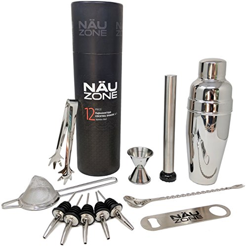 Professional Bartending Kit (12 Piece) | Bartending Kit Includes Elegant Stainless Steel Large 30 Oz. Cocktail Shaker with Premium Bar Tools and Bar Set Accesssories | Deluxe Packaging