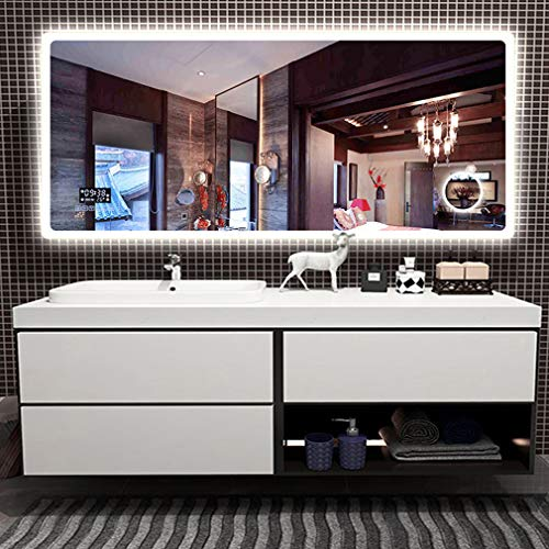 ADASP HORV Bluetooth LED Lighted Bathroom Wall Mounted Mirror, Horizontal Vanity Mirror with Clock - 3X Magnification Makeup, Adjustable 3 Lights, Defogger & Dimmer