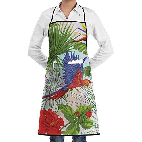 Papegaaien En Tropische Planten 1 Stuk Verstelbare Schort Pocket Voor Mannen En Vrouwen In Koken, Barbecue En Bakken