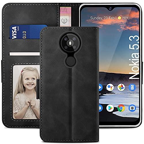 YATWIN Handyhülle Nokia 5.3 Hülle, Klapphülle Nokia 5.3 Premium Leder Brieftasche Schutzhülle [Kartenfach][Magnet][Stand] Handytasche für Nokia 5.3 Hülle, Schwarz
