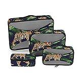 CPYang Tropical Palm Leaves Tiger Cubos de Embalaje 4 Set Equipaje Embalaje Organizadores de Viaje Malla Bolsa de Almacenamiento para Maleta