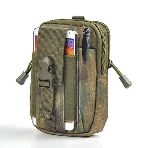 Leagway Multipurpose Tactical EDC Utility Gadget Pouch Molle Hip Waist Belt Bag Universal Cell Phone Holster Outdoor Military Wallet Nylon Case Camping Hiking Gear Tool Organizer (Ruin Green)