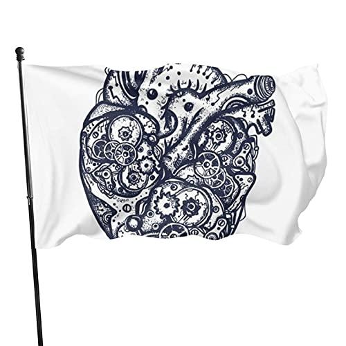 GOSMAO Bandera de jardín Tatuaje de Color de corazón mecánico Color Vivo y Resistente a la decoloración UV Bandera de Patio de Doble Costura Bandera de Temporada Bandera de Pared 150X90cm
