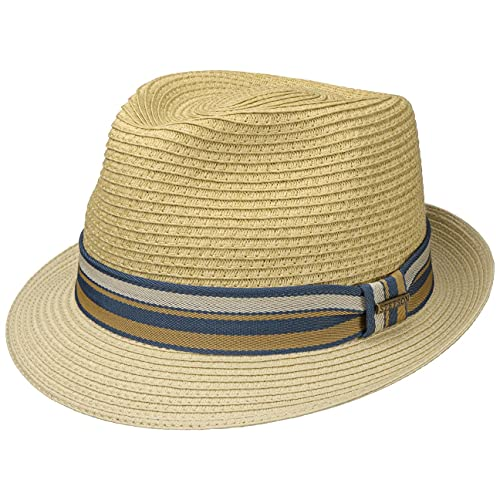 Stetson Sombrero de Paja Licano Toyo Trilby Hombre - Playa Sol con Banda Grosgrain Primavera/Verano - XL (60-61 cm) Beige