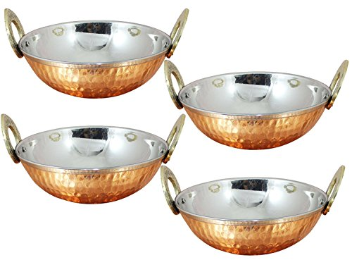 Avs Stores  Juego de 4 cuencos de cocina india con mango de latón macizo para comida india, diámetro de 15 cm