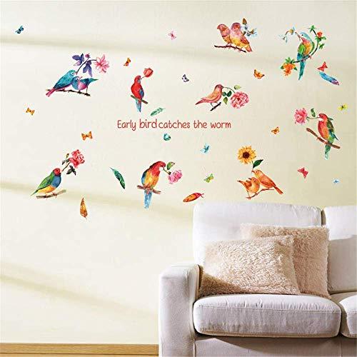 ufengke Wandtattoo Papagei Vögel Wandsticker Wandaufkleber Aquarell Blume für Schlafzimmer Wohnzimmer