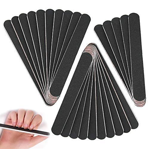 Kungfu Mall 25Pcs Juego de limas de uñas profesionales Herramientas de manicura de tablero de esmeril de grano doble 100/180 para modificación de uñas y uso doméstico - Negro