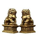 Un par de Estatua de león Feng Shui,decoración de Perro guardián Chino Lion Foo, símbolo de Prosperidad de Riqueza,Mejor decoración de Regalo de inauguración de la casa(L2.36 * W1.57 *H 3.74')