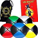 5x Balles de Jonglage Cuir PU - Mr Babache Livre sur les techniques de jonglage (en français) + Sac de transport.