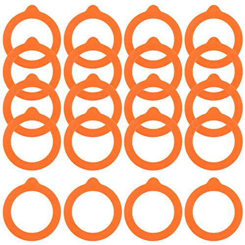 Skyzone 20 PCS Replacement Silicone Seals,Airtight Rubber Seals Rings Replacement Rubber Jar Seals Silicone Gasket Sealing Rings for Glass Clip Top Jars Canning (Orange)