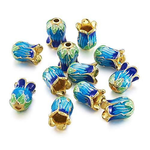 Beadthoven 25 unidades de cuentas de flores esmaltadas chapadas en oro de 0.55 x 0.39 pulgadas, aleación de 5 pétalos, espaciadores para pulsera y pendientes, joyería