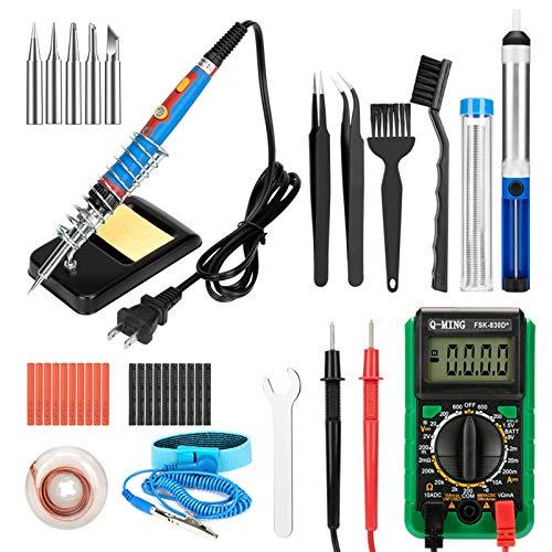 Kit de soldador 43 en 1 para soldador de temperatura ajustable, herramienta de soldador con interruptor de encendido/apagado, uso para tu hogar, reparaciones eléctricas, trabajos y otros proyectos de soldadura, 60 W