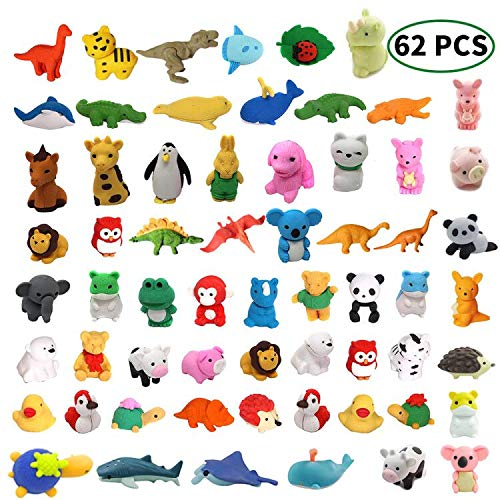 MAXZONE 62Pcs Animal Erasers Bulk Kids Pencil Erasers Puzzle Eraser Toys Mini Novelty Erasers for Party Favors, Classroom Rewards, Games Prizes, Carnival Gifts and School Supplies