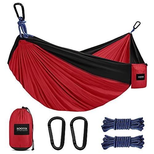 Kootek Camping Hammock Double & Single Portable Hammocks with 2 Hanging Ropes, Lightweight Nylon Parachute Hammocks for Backpacking, Travel, Beach, Backyard, Hiking (Red & Black, Large)