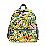 花の花蝶幼児バックパックブックバッグミニショルダーバッグ1-6年旅行男の子女の子子供用チェストストラップホイッスル
