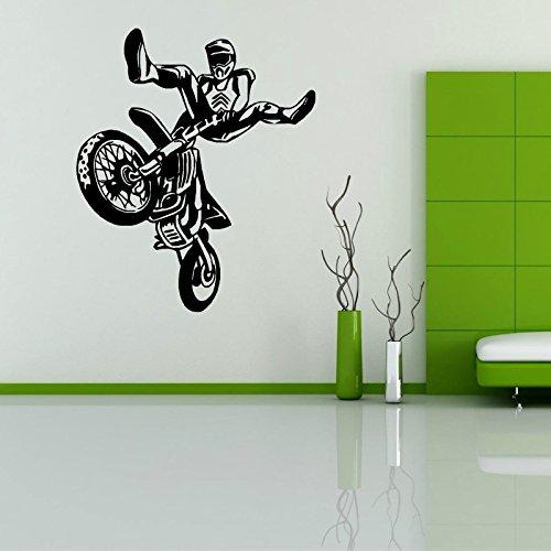Tianpengyuanshuai Arte Pegatinas de Pared Motocross Carrera Vinilo Coche Mural Creativo niños habitación calcomanía -104x122cm