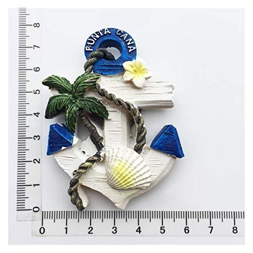 JSJJAWS Imanes Nevera República Dominicana Resina 3D Frigorífico Imán De Recuerdo Carnaval Autobús Punta Cana Macaw Sombrero Sombrero Playa Ancla del Océano Imanes Lindos Regalo (Color : 5)