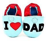 KIRALOVE - Zapatos infantiles con forma de corazón I Love Dad Ti Amo Papa. Blanco Size: 9-12 mesi