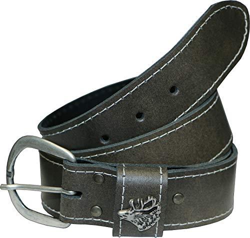 La Chasse Ledergürtel aus Rindsleder mit Schließe Hirsch, Wildschwein oder Auerhahn Gürtel für Damen und Herren Trachtengürtel für Lederhosen Rindledergürtel