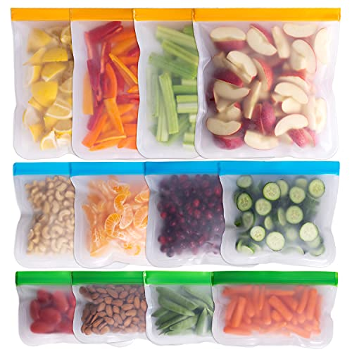 Greenzla Reusable Storage Bags – 12 Pack BPA FREE Freezer Bags ( 4 Reusable Gallon Bags & 4 Reusable Sandwich Bags & 4 Reusable Snack Bags), EXTRA THICK & Leakproof Reusable Lunch Bags for Food