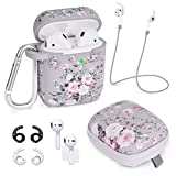 Airpods Case - Airspo 7 in 1 Airpods Accessories Set Compatible with Airpods 1 & 2 Protective Silicone Cover Floral Print Cute Case (Grey Pink Rose)