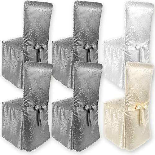 Gräfenstayn® Stuhlhusse Sofia mit Jacquard Muster und eingearbeiteter Schleife runde und eckige Stuhllehnen Universal-Passform (Anthrazit)