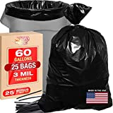 3 Mil 60 Gallon Contractor Trash Bags - 38'Wx58'H Heavy Duty Black Bags for Garbage and Storage - Super Thick Industrial Grade Trash Bags for Construction, Yard Work, Commercial Use (25)