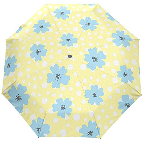 Ombrello da pioggia vintage a pois floreale con apertura automatica a pois