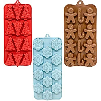 Set of 3 Holiday Christmas Shaped Silicone Ice Cube Trays/Food Molds - Gingerbread Men/Candy Canes Snowflakes & Christmas Trees