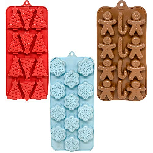 Set of 3 Holiday Christmas Shaped Silicone Ice Cube Trays/Food Molds - Gingerbread Men/Candy Canes, Snowflakes & Christmas Trees