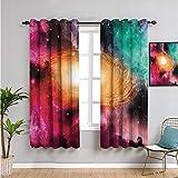 VICWOWONE Zodiac inspirador cortina opaca con ventana, cortinas de 160 cm de largo, uso repetible, 163 cm de ancho x 63 cm de largo, negro, rosa, naranja, verde