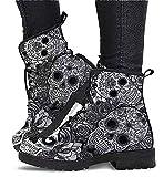Botines de Mujer Botines de Estilo Retro Botas Cortas, Zapatos de Cuero Retro de Moda para Mujer Botas de Calavera para Todas Las Estaciones (Color : Grey1, Size : 43)