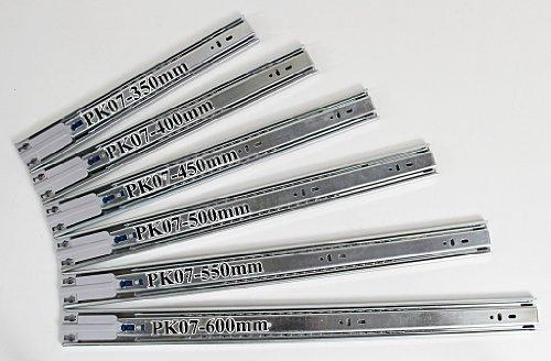 Teleskopschiene Schubladenschiene Vollauszug mit Kugelführung, Selbsteinzug und Dämpfung, SoftClosing - L 600mm, H 45mm, B 12,7mm