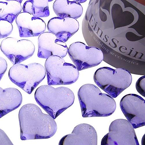 EinsSein 30x Strooi Kristallen Tafel Harten Hartform bruiloft Acryl 22mm lila rood glazen steentjes vorm van een hartje tafels decoratie vaasjes tafelconfetti tafeldecoratie decoratie dopen geboorte