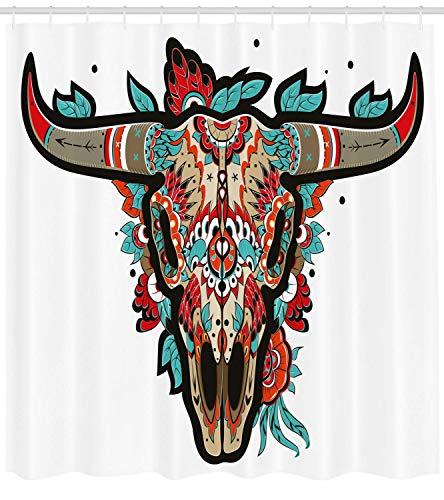N/ de Occidental Búfalo Azúcar Cráneo Mexicano Coloridodiseño Adornado Cuernos Animal Trofeo de de con Naranja Turquesa Taupe 183 * 183CM