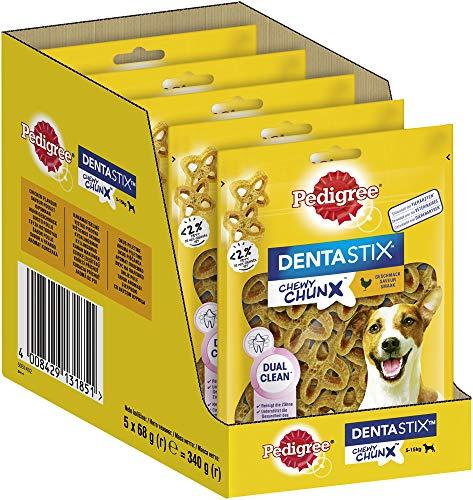 Pedigree Dentastix Chewy Chunx Zahnpflegesnacks für kleine Hunde von 5-15kg, mit Huhn, 5x68g