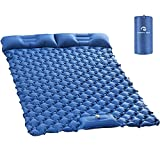 Kinmoku Sleeping Pad for Camping - 2 Person Sleeping Pad Lightweight Camping Pad Foot Press Self Inflating Mattress Portable and Compact Sleeping Mat with Pillow Sleeping Pads for Hiking Traveling