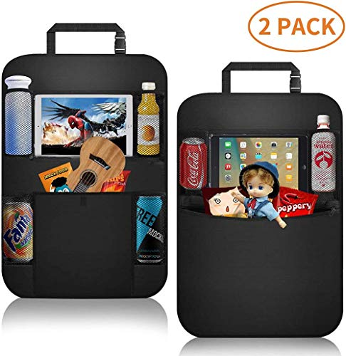 'N/A' 2Pcs Auto Car Seat Back Touch Screen Tablet Holder Hanging Storage Bag Organizer -Black_Car_Back_Seat_Organizer_2-Pack