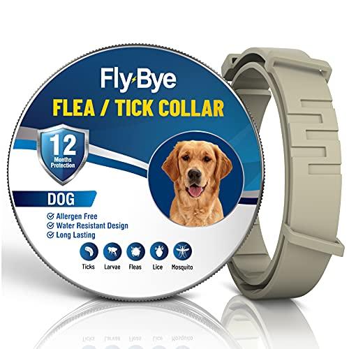 Fly-Bye - Collar antipulgas para perros, 12 meses de protección