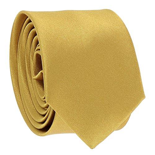 Cravate Fine Dorée - Cravate Homme Coupe Slim Moderne - 5cm à la Pointe - Couleur Unie - Accessoire Chemise pour Mariage, Cérémonie