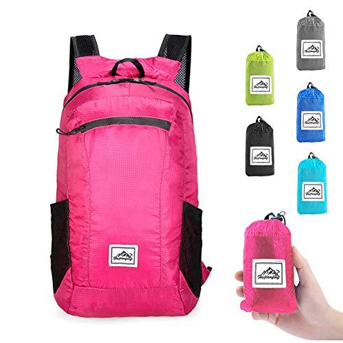I IHAYNER Rucksack Herren Faltbarer Rucksäcke Rucksack Packable Daypack Rucksack 20L Damen Tasche Schule Ultraleicht Draussen Rosenrot